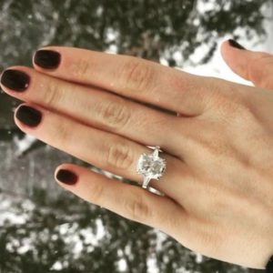 2.90 ctw Double Prong-Set Cushion Diamond With Baguette Accents Engagement Ring In 10k White Gold