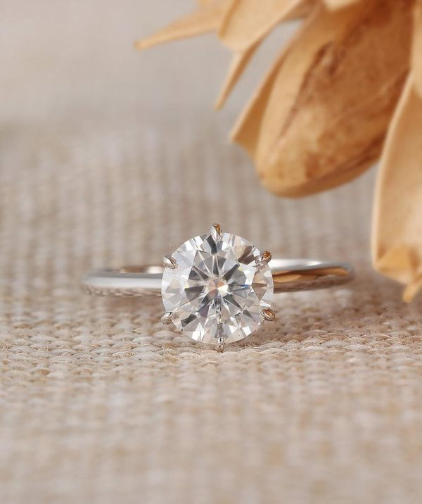 14k White Gold Ring 2.50 Ct Solitaire Round VVS1 Diamond Engagement Ring Proposal Ring