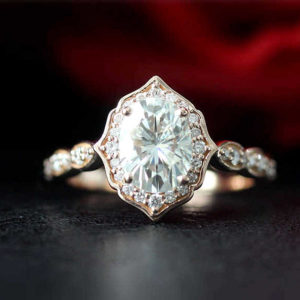 2.50 Ctw White Oval Cut Diamond Antique Halo Engagement Ring Solid 10k Rose Gold