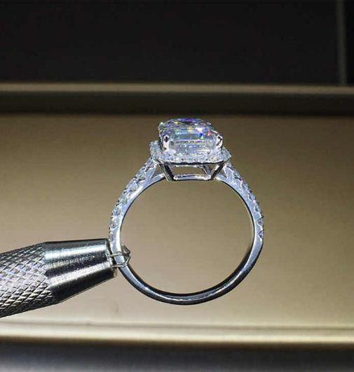 Gorgeous 2.90 Ctw White Emerald Cut Diamond Halo Wedding Engagement Ring 14k White Gold