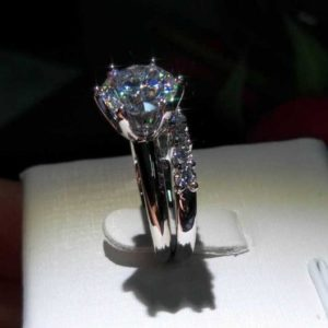 2.50 Carat Solitaire Brilliant Cut Diamond Engagement Ring Bridal Set 14k White Gold