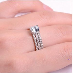 1.60 Carat Brilliant Cut Diamond Best Engagement Ring, Trio Wedding Ring Set 14k Gold Over
