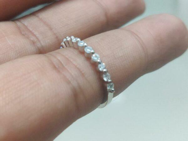 1.4mm Half Eternity Brilliant Cut Diamond Wedding Band 14k White Gold Anniversary Gift