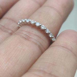1.4mm Half Eternity Brilliant Cut Diamond Wedding Band 14k White Gold Anniversary Gift