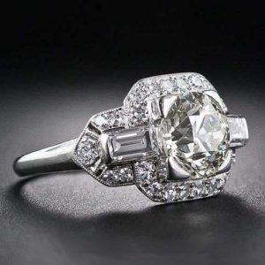 Antique 2.50 CT Brilliant Cut Diamond Wedding Engagement Ring 14k White Gold Plated