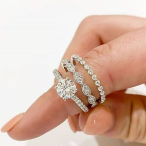 2.88 Ctw Diamond Bridal Set, Solitaire Engagement 3-Pieces Ring Set Solid 10k White Gold