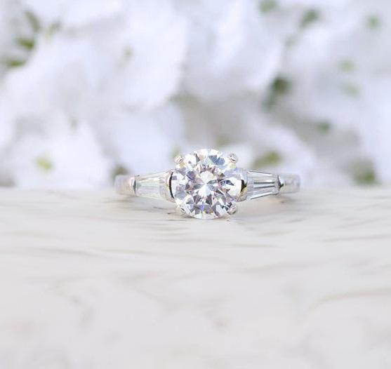 2.36 CTW Brilliant Cut Diamond 3-Stone Engagement Ring Solid 14K White Gold