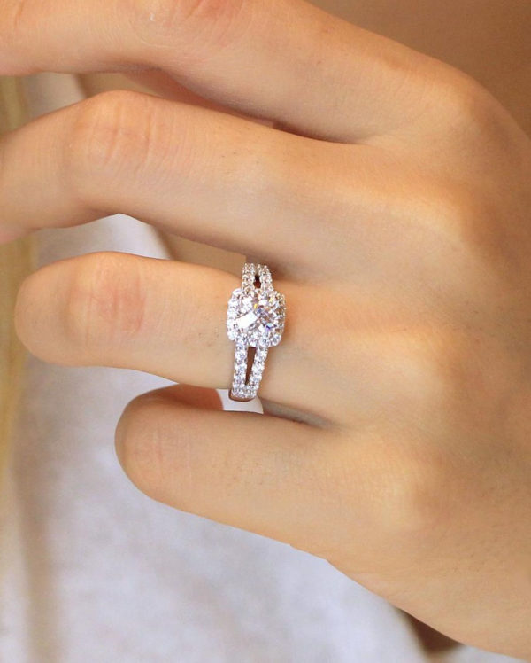 1.92CT White Cushion Diamond Beautiful Split Shank Engagement Ring Real 14K White Gold