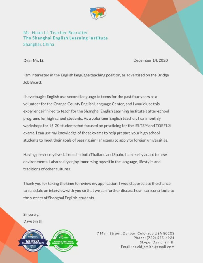 How To Write A Tefl Cover Letter With Sample Bridgeuniverse Tefl Blog News Tips Resources