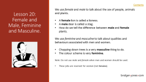 Practical English Usage Lesson 20 Female and Male, Feminine and Masculine bridger-jones.com