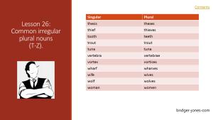 Practical English Usage Lesson 26 common irregular plural nouns T-Z