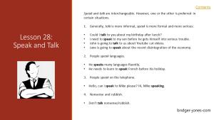 Practical English Usage Lesson 28 speak and talk bridger-jones.com