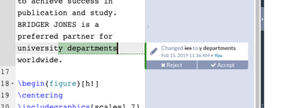 Track changes in Overleaf