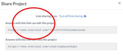 The shareable Overleaf link