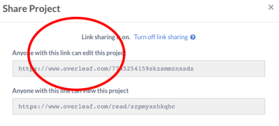 The shareable Overleaf link