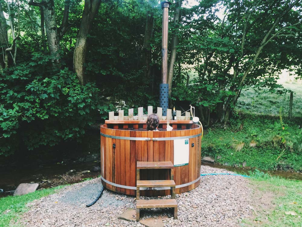 Huts in the Hills hot tub Wales, glamping