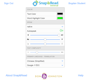 snap and read options window