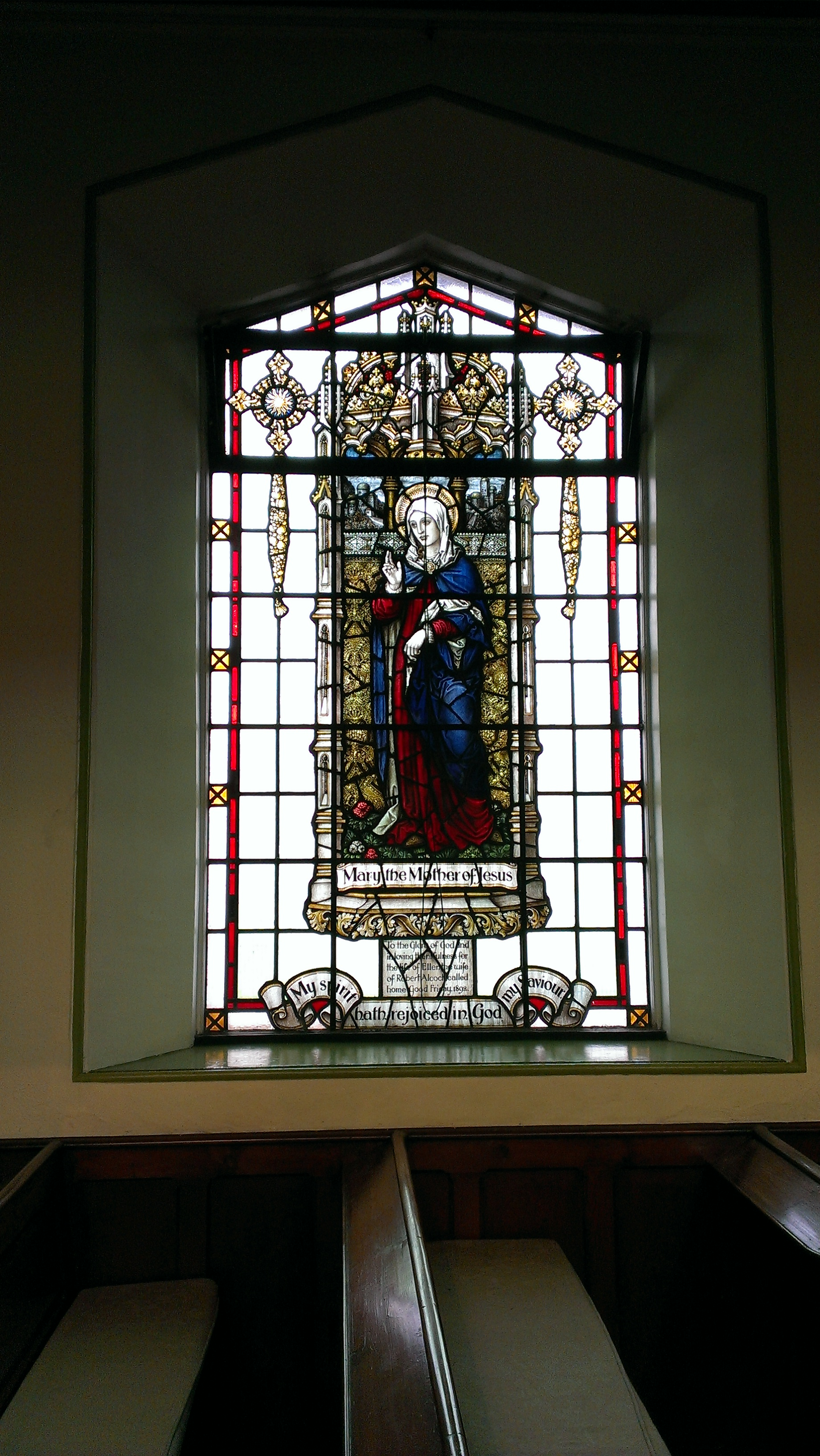 To the Glory of God and in loving thankfulness for the wife of Ellen the wife of Robert Alcock, called home Good Friday 1892
