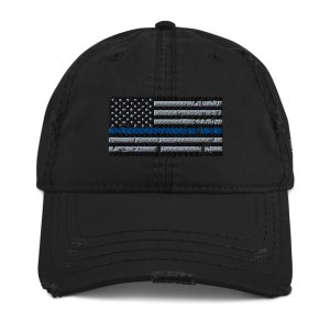 bridge the blue line distressed hat