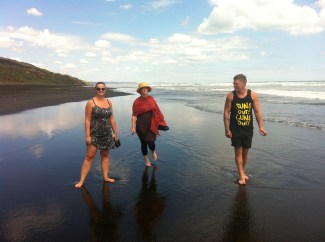 Debbie, Dan and Courtney on Karioitahi Beach