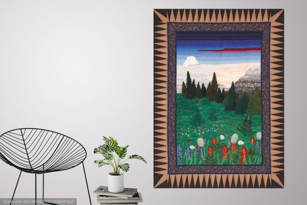Thread Painting mountain flowers in a living room setting