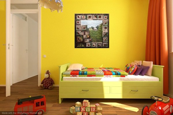 Log Cabin art quilt in bright childs room