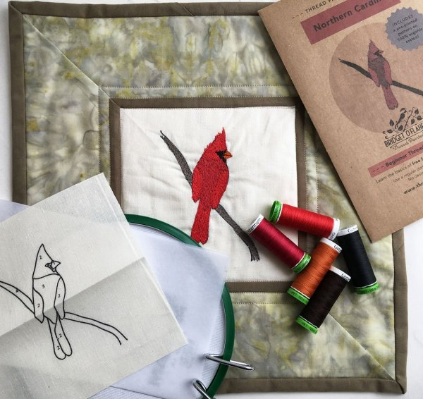 Thread Painting kit with thread, pattern, hoop, stabilzer and fabric pattern