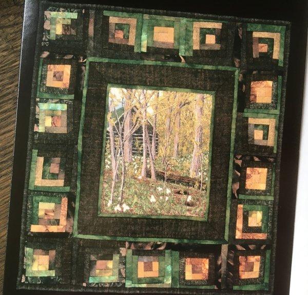 Artcard Cabin in the Woods. Original art work on a blank notecard