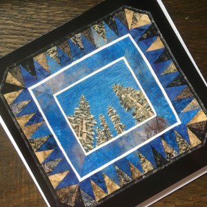 Artcard Looking Up with Brendan. Original art work on a blank notecard
