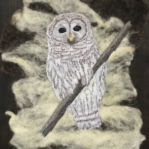 Free motion embroidery Barred Owl on felted background. Thread Painted Art