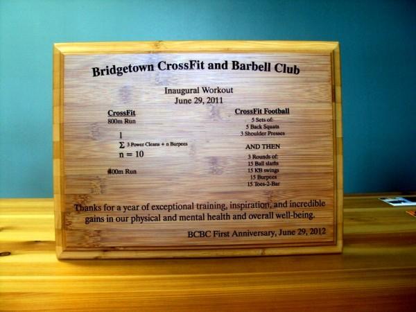 BCBC Anniversary Plaque