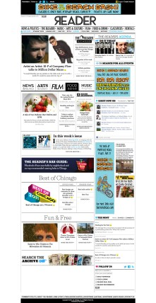 Chicago Reader homepage takeover