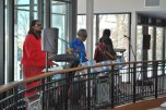 A steel drum band performing in the Hicks Student Center.