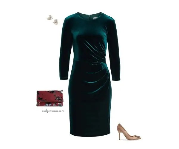 078332d8af308 This last look is a fresh take on a basic black velvet dress for the  holidays. Despite it being in a teal shade, this dress can still be styled  a variety of ...