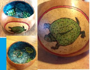 "outer: image burned in and colored with dyes - inner : my ""turtles swimming"" drawing decoupaged inside the bowl"