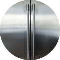 close up of stainless steel refrigerator handles