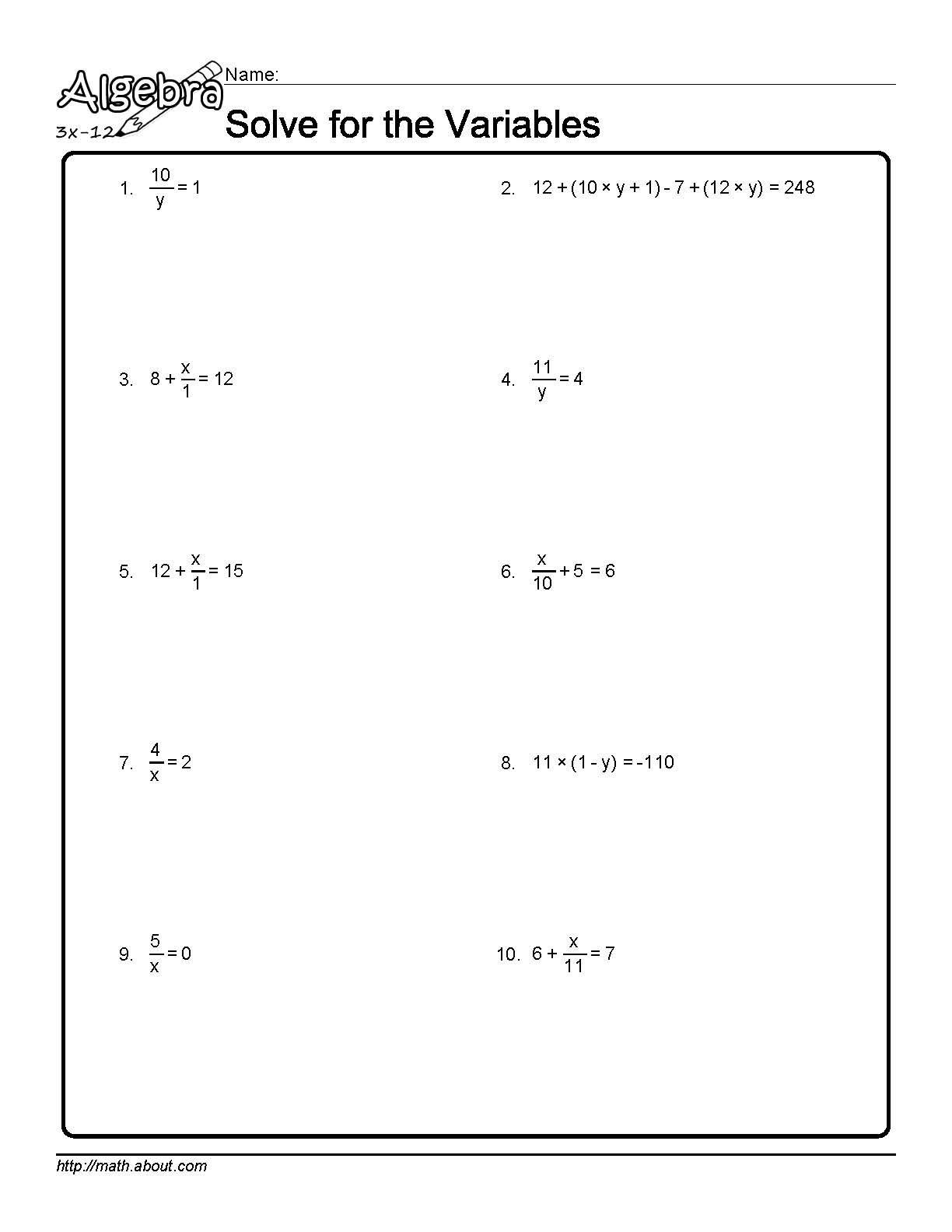 4th Grade Algebra Worksheets