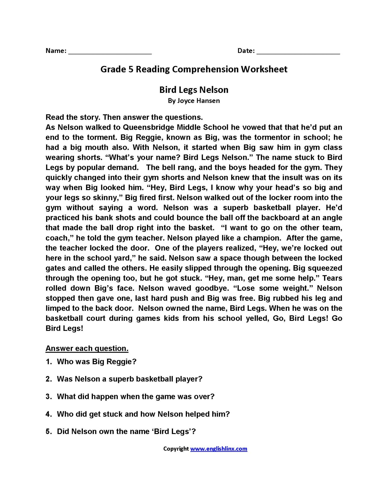 Worksheet For 5th Grade Prehension