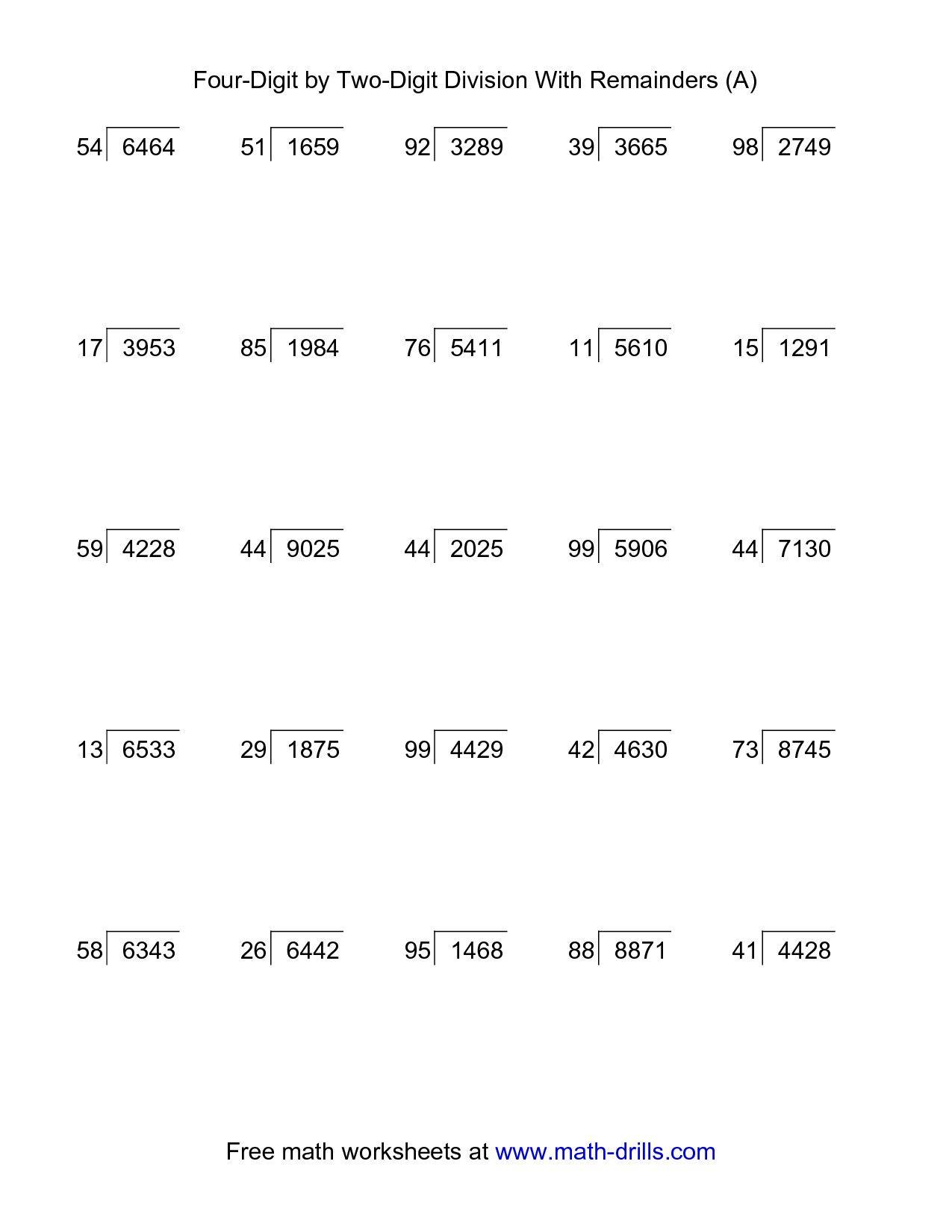 5th Grade Long Division Worksheets