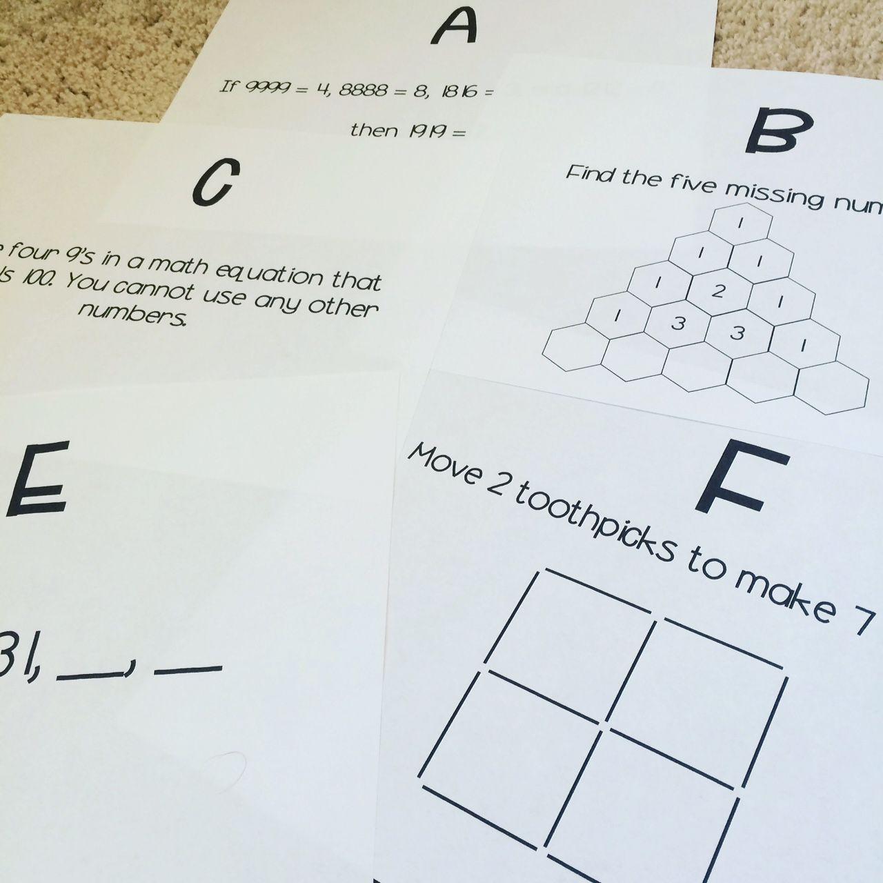 5th Grade Math Brain Teasers Worksheets
