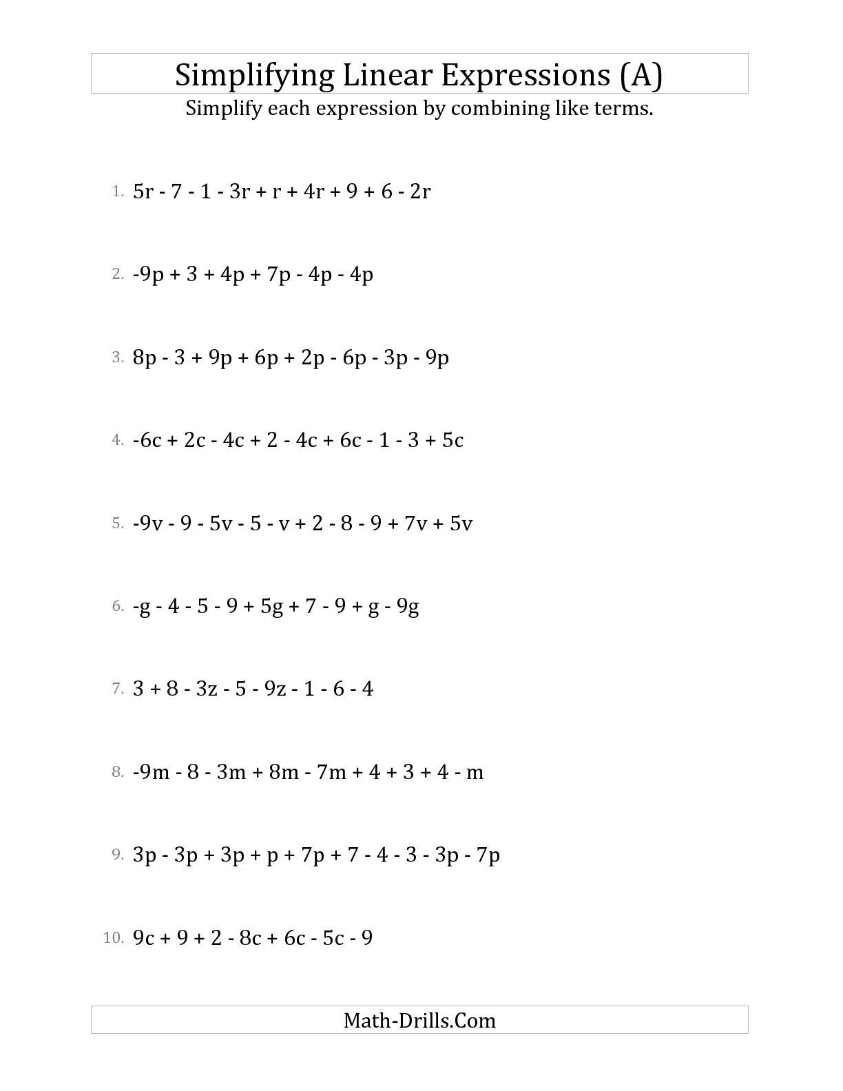 6th Grade Algebraic Expressions Worksheets