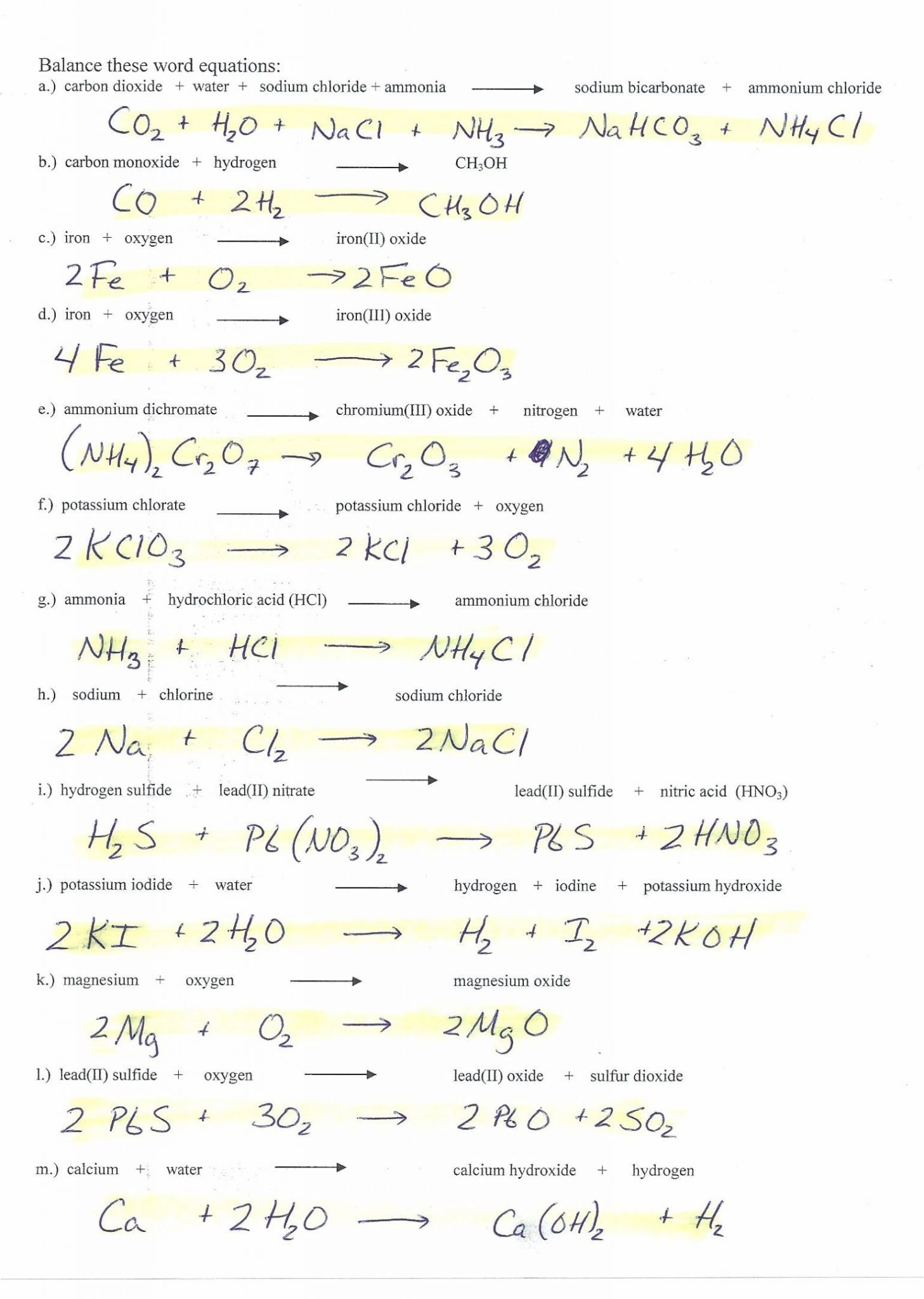 8 2 Types Of Chemical Reactions Worksheet Answers