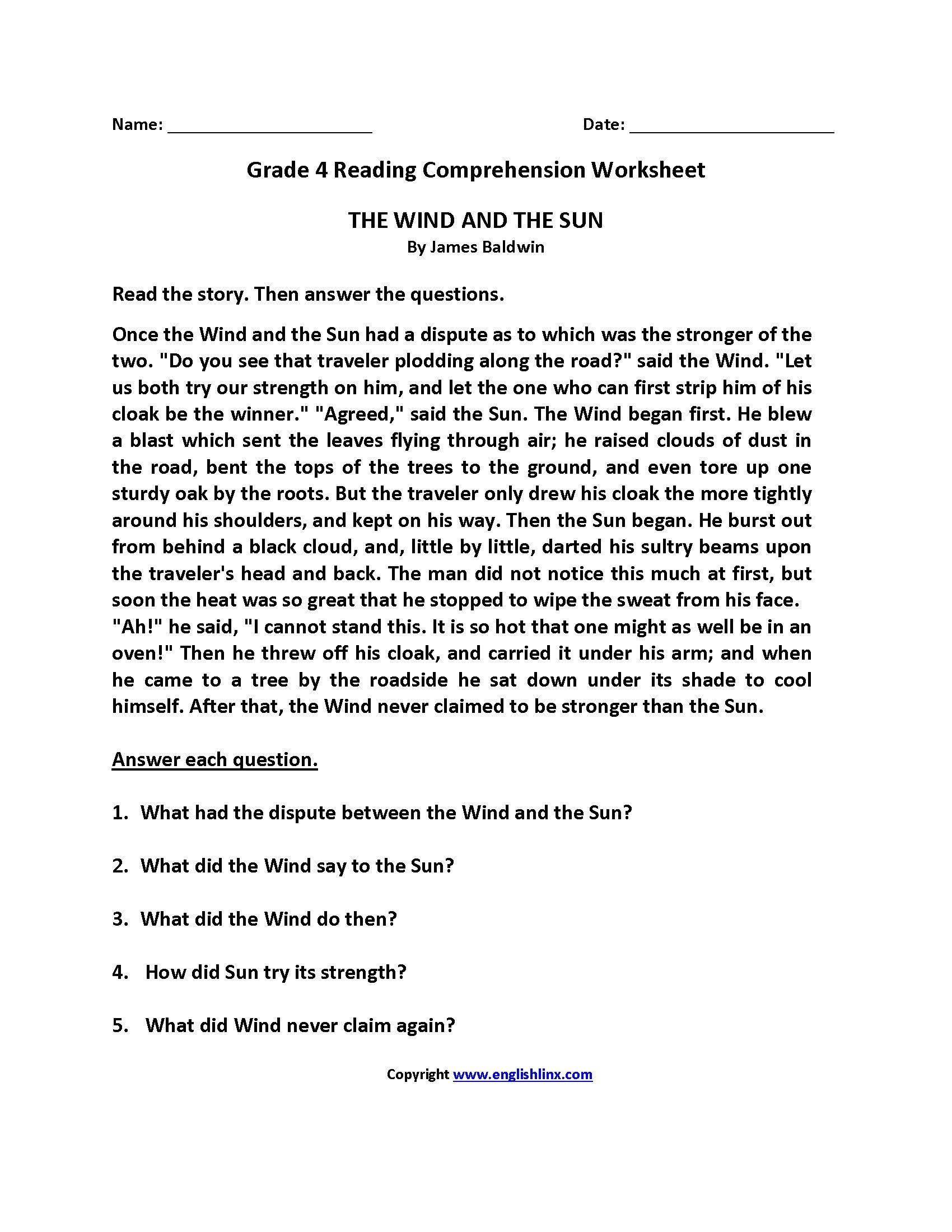 Outlining Worksheet Grade 4