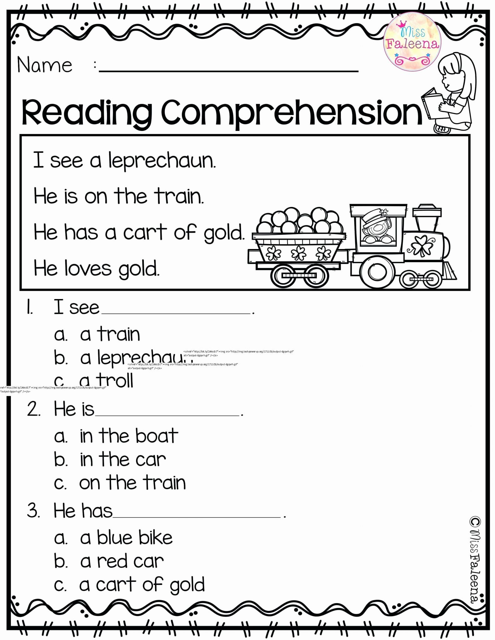Prehension Reading Worksheet