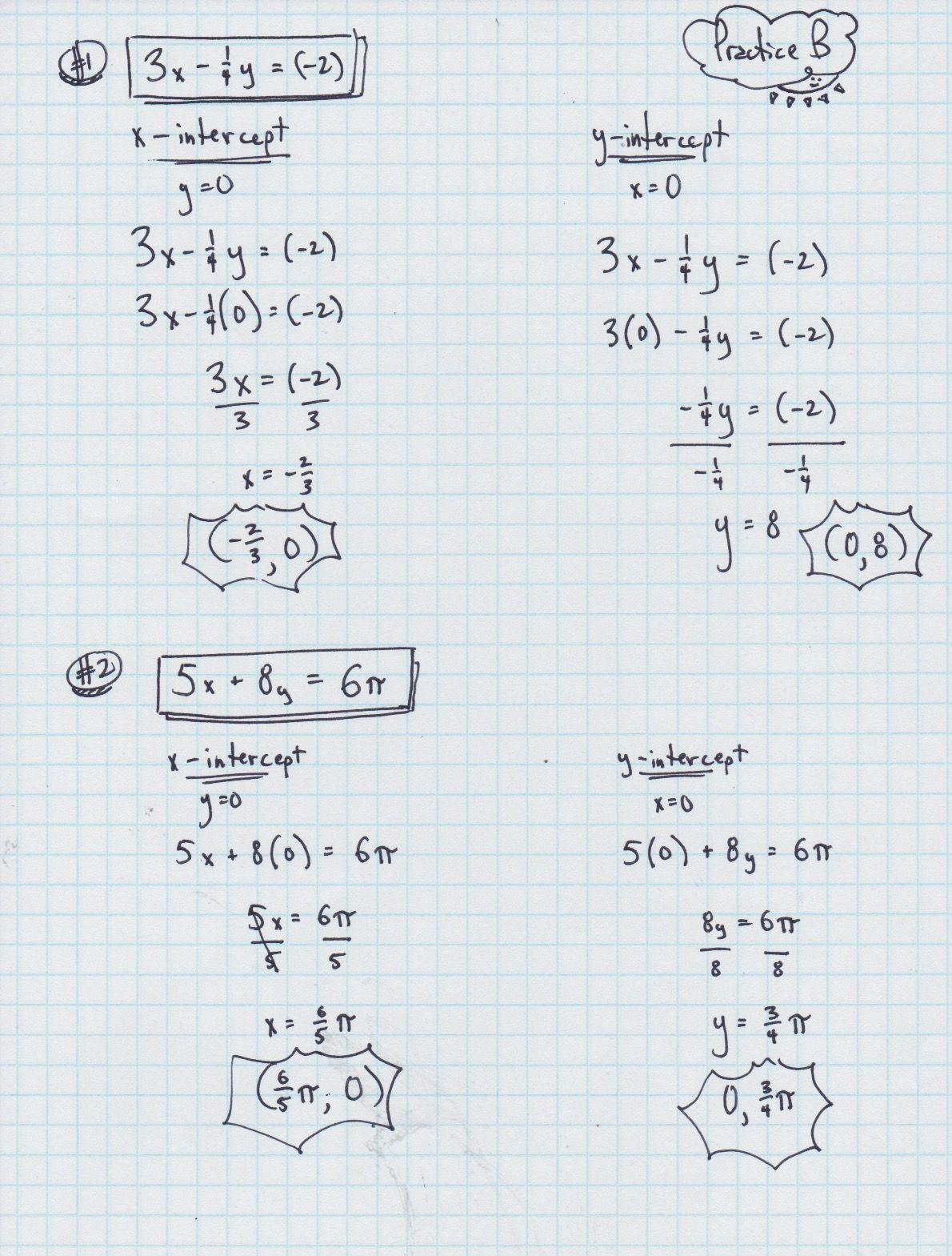 Worksheet On X And Y Intercepts