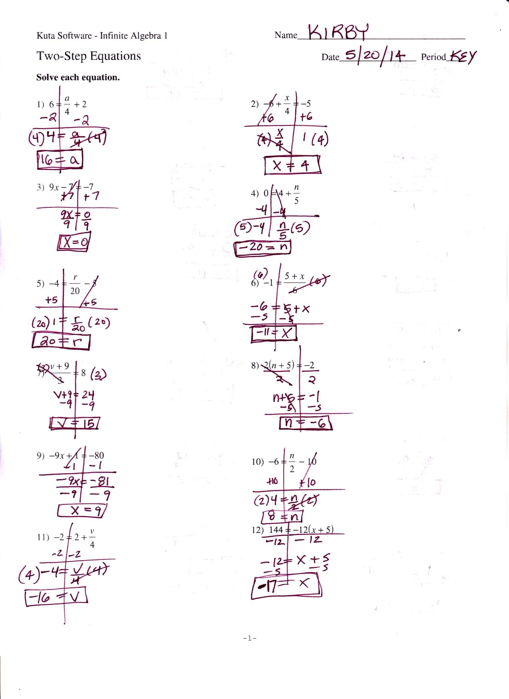 Literal Equations Worksheet Infinite Algebra 1