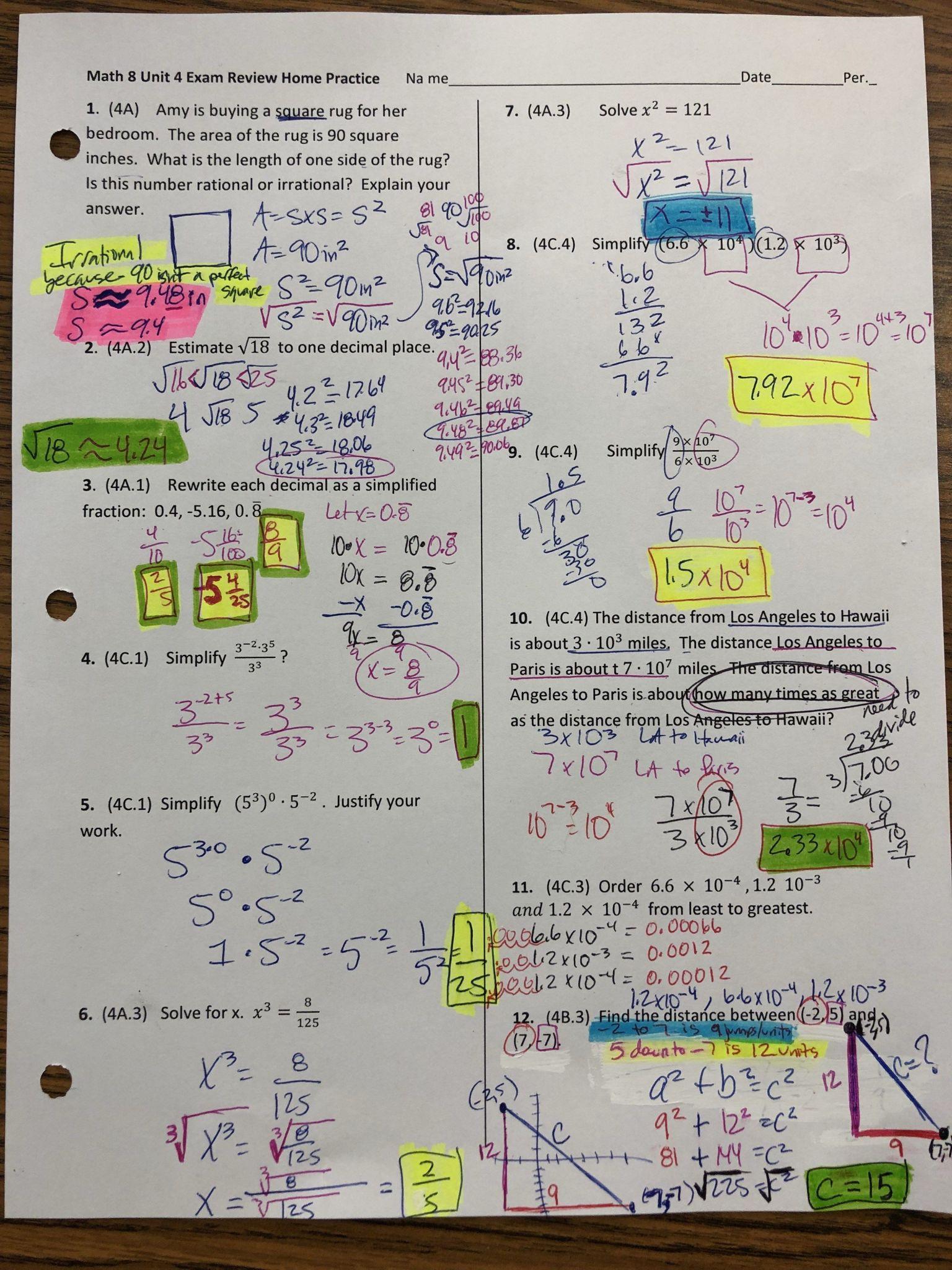 Algebra 2 Exponent Practice Worksheet Answers
