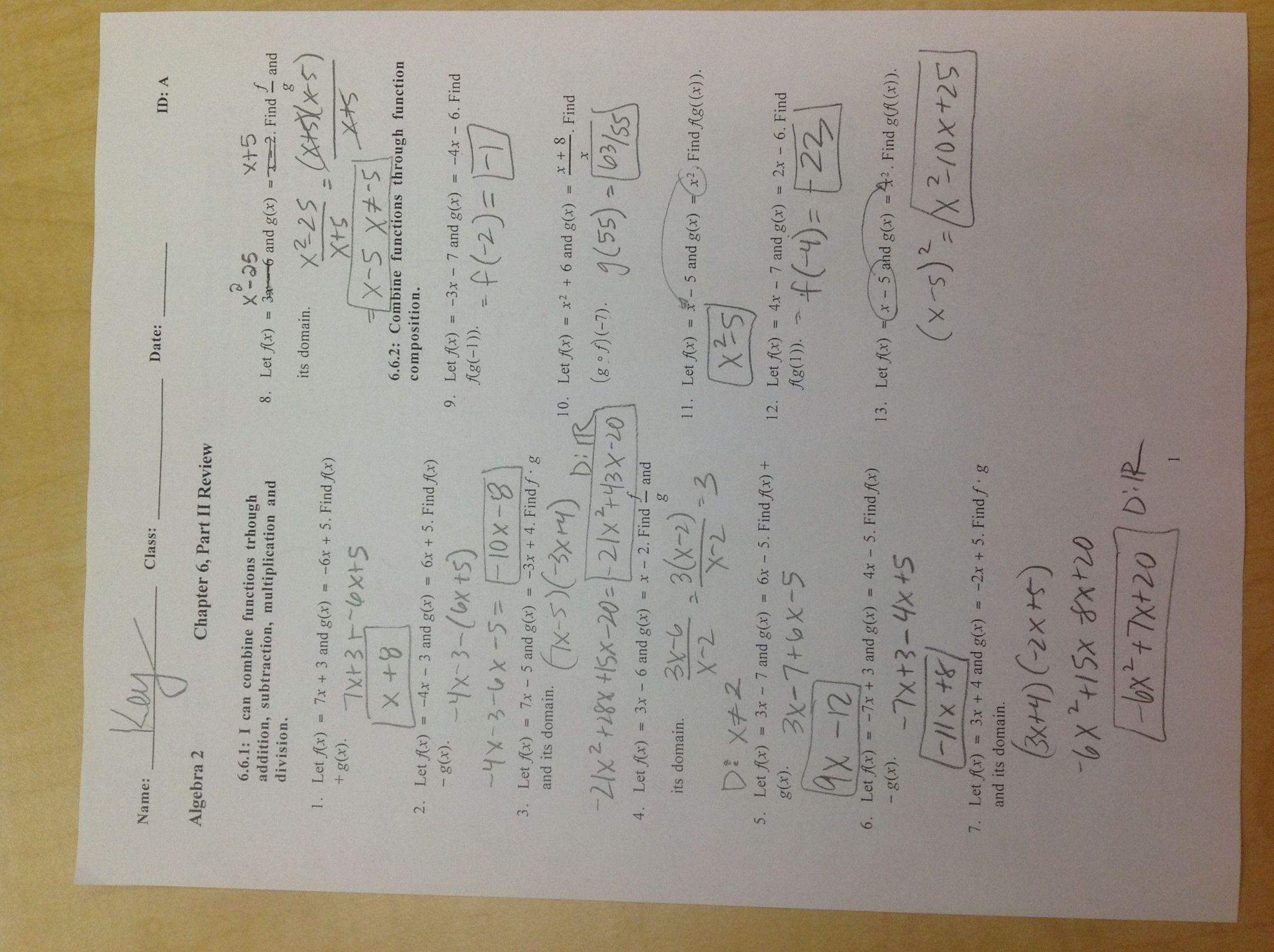 Algebra 2 Review Worksheet
