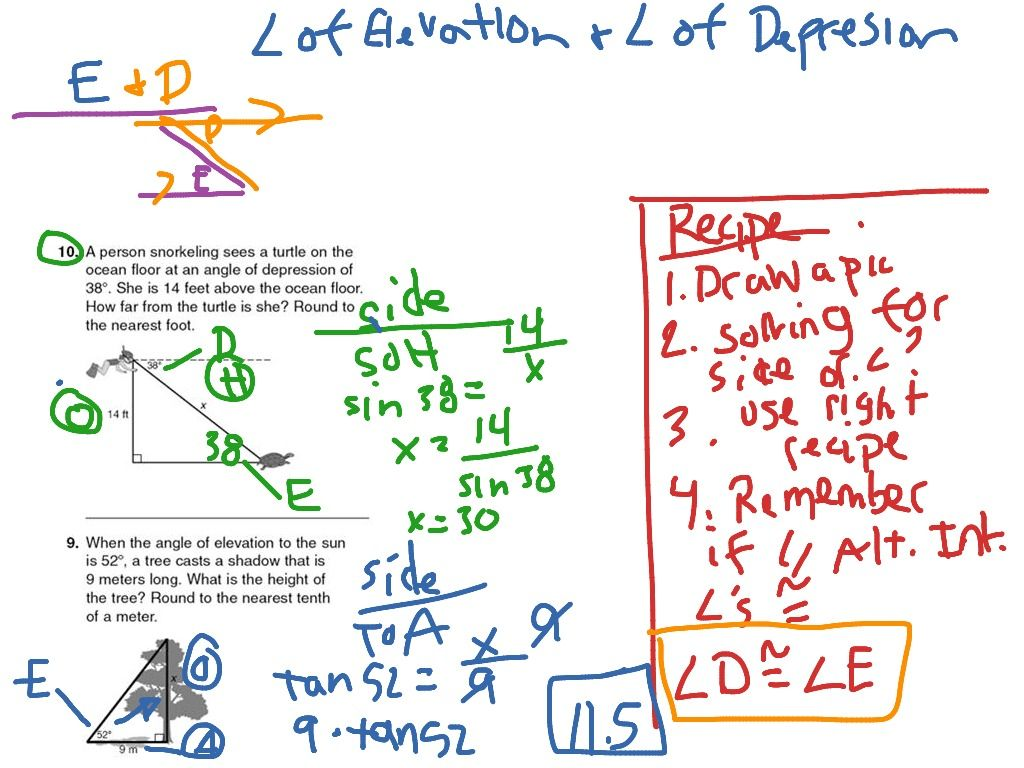 Angles Of Depression And Elevation Worksheet Answers