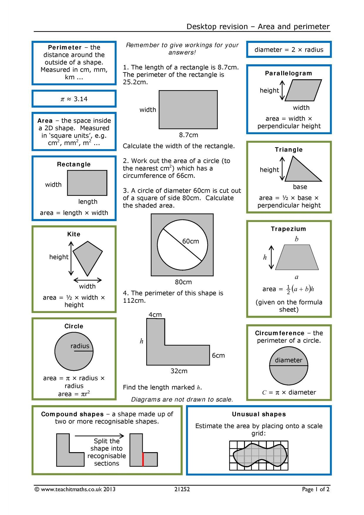Area Perimeter Volume Worksheets